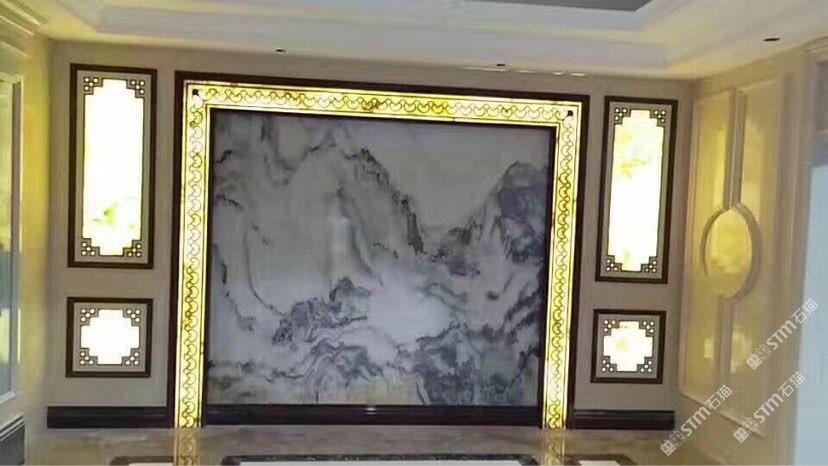背景墙山水画复合板奢石中式欧式现在设计