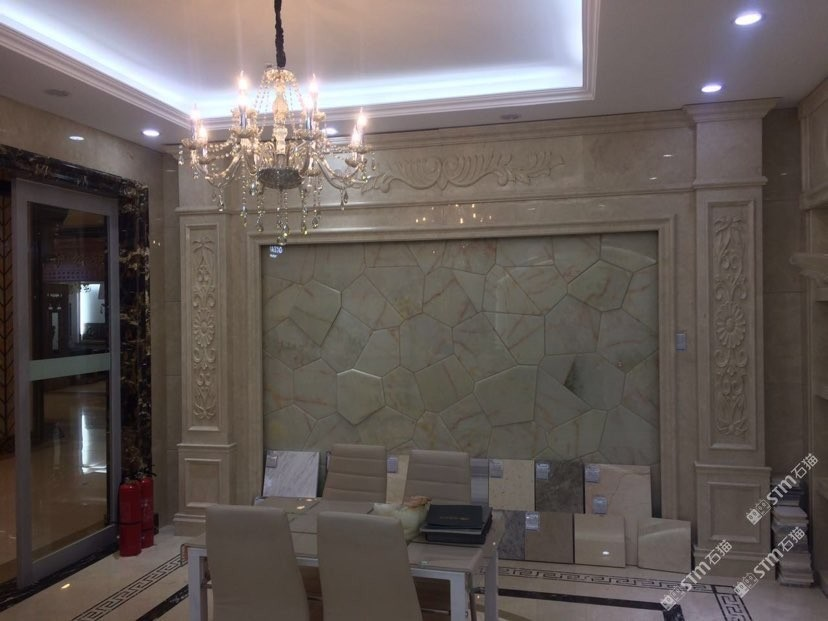 玉石背景墙山水画透光石雕刻复合板水刀拼花