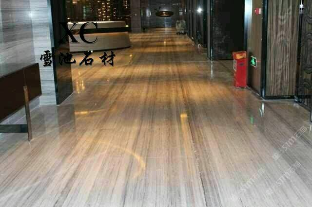 酒店大堂地面木纹大理石铺装工程实例